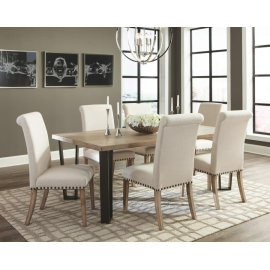 Taylor Rustic Ivory and Oak Seven-piece Dining Set