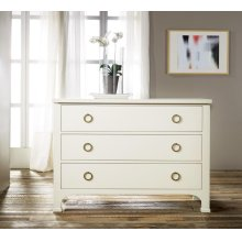 Three Drawer Painted Commode, Painted Antique White. Solid Brass Hardware.