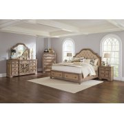 Ilana Traditional Antique Linen and Cream Eastern King Storage Bed Four-piece Set Product Image
