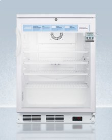 """24"""" Wide Glass Door Refrigerator for Built-in Use, Auto Defrost With A Lock, Nist Calibrated Thermometer, Digital Thermostat, and Internal Fan"""