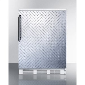SummitCommercially Listed Freestanding All-refrigerator for General Purpose Use, Auto Defrost W/lock, Diamond Plate Wrapped Door, Towel Bar Handle, White Cabinet