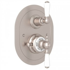 Satin Nickel Perrin & Rowe Edwardian Era Oval Thermostatic Trim Plate With Volume Control with Metal Lever