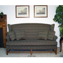 High Back Sofa Oak Finish Chippendale Base - One Cushion