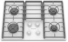 30-Inch 4 Burner Gas Cooktop, Architect® Series II - White