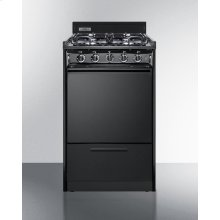 "20"" Wide Gas Range In Black With Sealed Burners and Electronic Ignition"