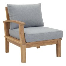 Marina Outdoor Patio Premium Grade A Teak Wood Left-Facing Sofa in Natural Gray