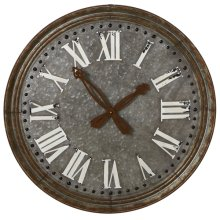 Round Galvanized Wall Clock with Rusted Hands.