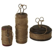 Vintage Spools with Jute Thread & Scissors (Each One Will Vary) (3 pc. set)