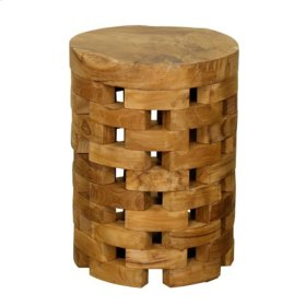Barrel End Table, Natural