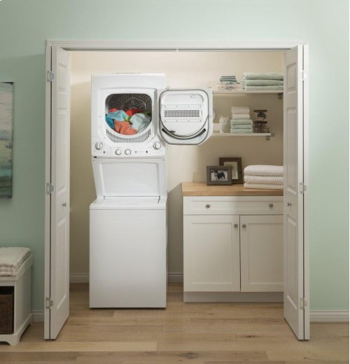 GE Unitized Spacemaker® 2.3 DOE cu. ft. Stainless Steel Washer and 4.4 cu. ft. Gas Dryer