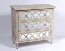 3 Drawer Accent Cabinet-weathered Wood Finish W/mirror Accent Su