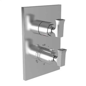 "Gloss Black 1/2"" Square Thermostatic Trim Plate with Handle"