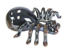 Ceramic Spider Figurine, Distressed Black