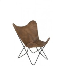 Chair 75x87x86 cm BUTTERFLY leather brown