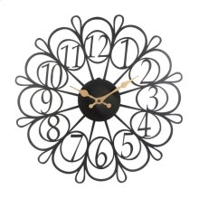 Black/gold Metal Flower Clock, Wbwb