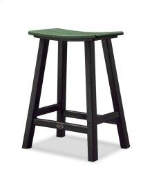 "Black & Green Contempo 24"" Saddle Bar Stool"