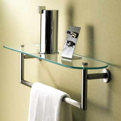 "Sine 24"" Tempered Glass Shelf W/ Towel Bar - Polished Chrome"