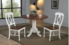 "Sunset Trading 3 Piece 42"" Round Drop Leaf Dining Set in Antique White with Chestnut with Windsor Spindleback Chairs"