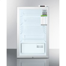 """20"""" Wide Commercial Glass Door All-refrigerator for Built-in Use, With Digital Thermostat, Internal Fan, Lock, Temperature Alarm, and Hospital Grade Plug"""