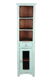 CC-CAB1924TLD-TERW  Cottage Tall Narrow Cabinet  Teal  Natural Raftwood