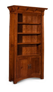 MaRyan Bookcase, Wood Doors on Bottom, M Ryan Bookcase, Wood Doors on Bottom, 4-Adjustable Shelves