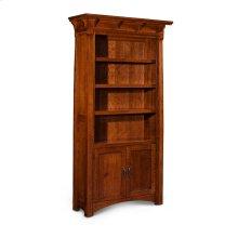 MaRyan Bookcase, Wood Doors on Bottom, M Ryan Bookcase, Wood Doors on Bottom, 4-Adjustable Shelves