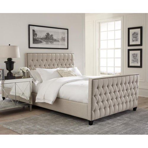 Saratoga Oatmeal Upholstered Queen Bed