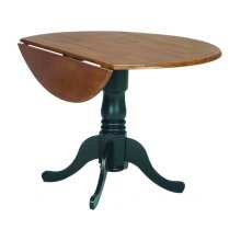 Round Dropleaf Pedestal Table in Black & Cherry