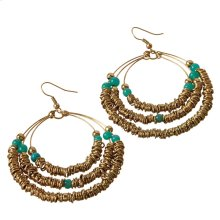Gold Wire & Teal Beadrd Earrings.