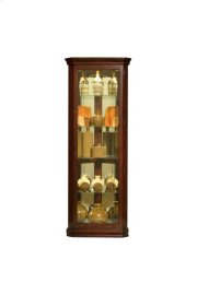 Mirrored 4 Shelf Corner Curio Cabinet in Victorian Brown Product Image