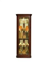Mirrored 4 Shelf Corner Curio Cabinet in Victorian Brown Product Image