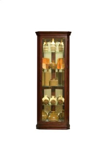 Mirrored 4 Shelf Corner Curio Cabinet in Victorian Brown
