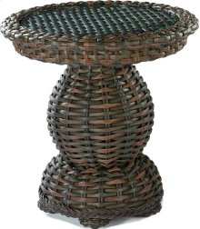 South Hampton End Table Woven Top W/Glass