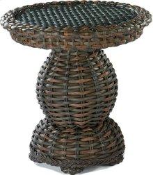 South Hampton End Table Woven Top W/Glass