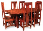 """Aspen Trestle Table with Inlay, Aspen Trestle Table with Inlay, 48""""x96"""", 1-32"""" Stationary Butterfly Leaf"""