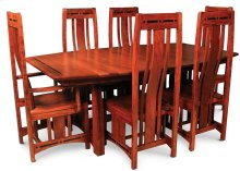 "Aspen Trestle Table with Inlay, 48"" x 80"", 4-Leaves, SATE-60, Cherry #26 Michael's, Aspen Trestle Table, 48""x80"", 4-Leaves, SATE-60, Ball Bearing Slides & Self Storing Leaves, Cherry"