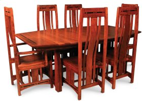"""Aspen Trestle Table with Inlay, 48"""" x 80"""", 4-Leaves, SATE-60, Cherry #26 Michael's, 4 Leaf"""