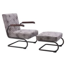 Father Lounge Chair Vintage White Product Image