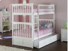 Columbia Bunk Bed Twin over Twin with Raised Panel Trundle Bed in White Product Image