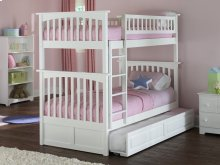 Columbia Bunk Bed Twin over Twin with Raised Panel Trundle Bed in White