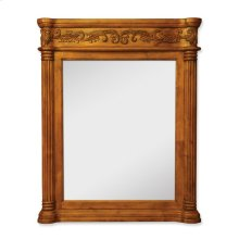 "33.6875"" x 42"" Golden Pecan mirror with hand-carved details and beveled glass"
