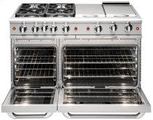 """48"""" four Sealed Burner + BBQ Burner + Griddle, all gas, manual clean range, Liquid Propane"""