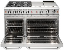 "48"" four Sealed Burner + BBQ Burner + Griddle, all gas, manual clean range, Liquid Propane"