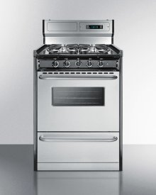 "Deluxe Gas Range With In Slim 24"" Width With Stainless Steel Doors and Four Sealed Burners"