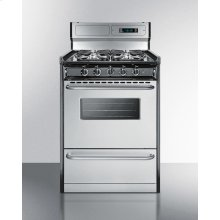 """Deluxe Gas Range With In Slim 24"""" Width With Stainless Steel Doors and Four Sealed Burners"""