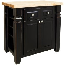 "34"" x 22"" x 34-1/4"" Aged black furniture style kitchen island with adjustable shelves on both ends, ample cabinet storage on one side, and a decorative panel on the reverse."