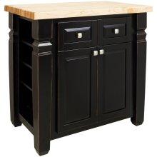 "34"" x 22"" x 34-1/4"" Furniture style kitchen island with Aged Black finish."