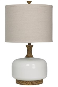 Transitional wood and ceramic table lamp in chevelle finish drum shade