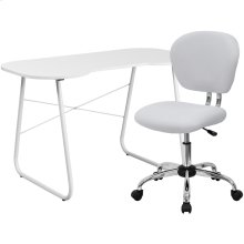 White Computer Desk and Mesh Chair