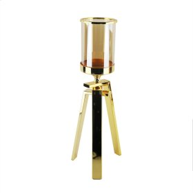 """Gold & Glass Tripod Candle Holder 19.5"""""""